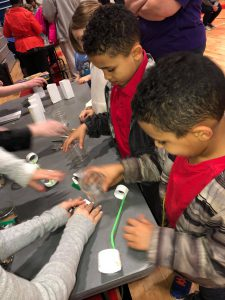 students doing activity at science night