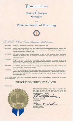picture of May is Exercise Month Proclamation