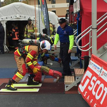 photo of firefighters taking part in challenge