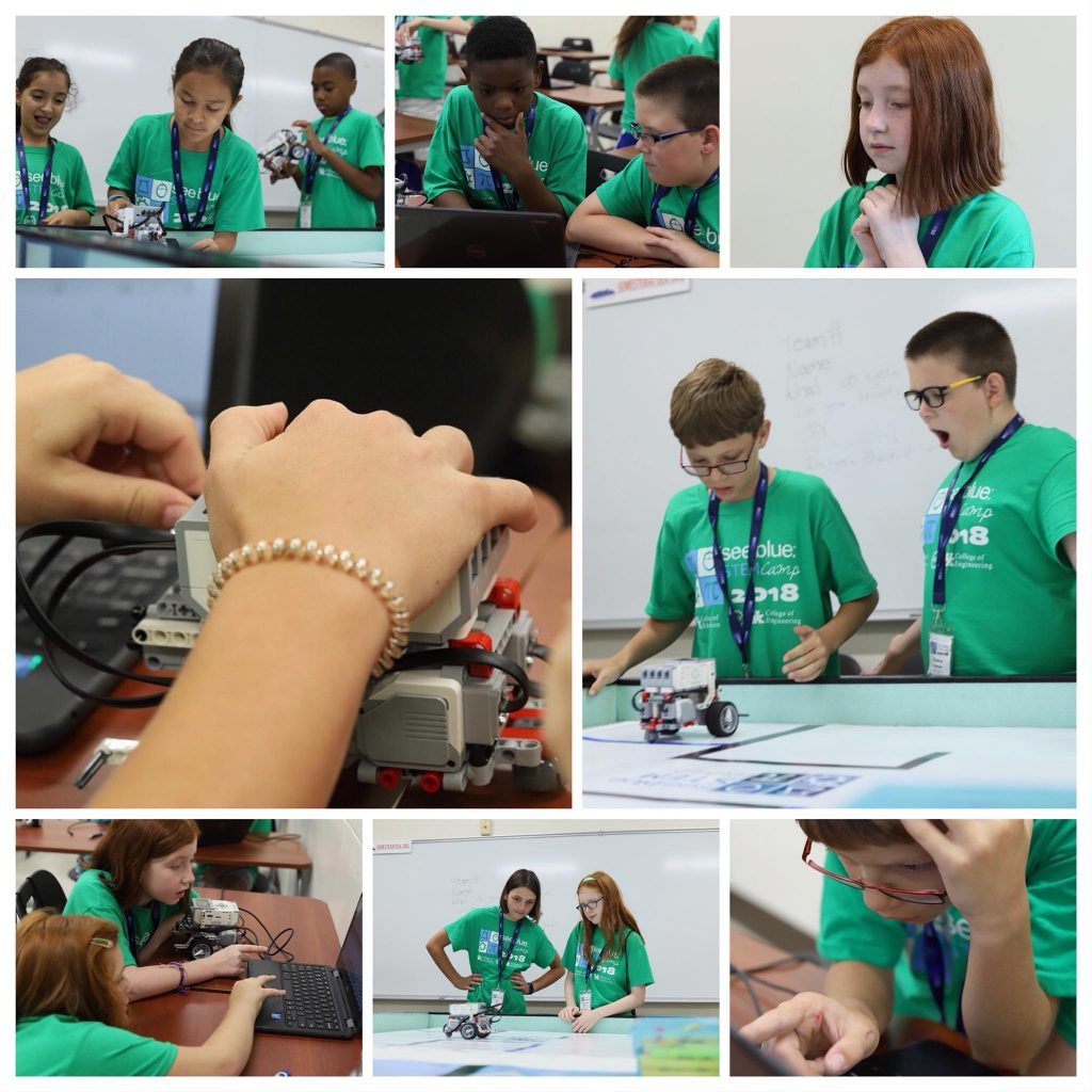Collage of photos of UK STEM Camp students participating in robotics camp