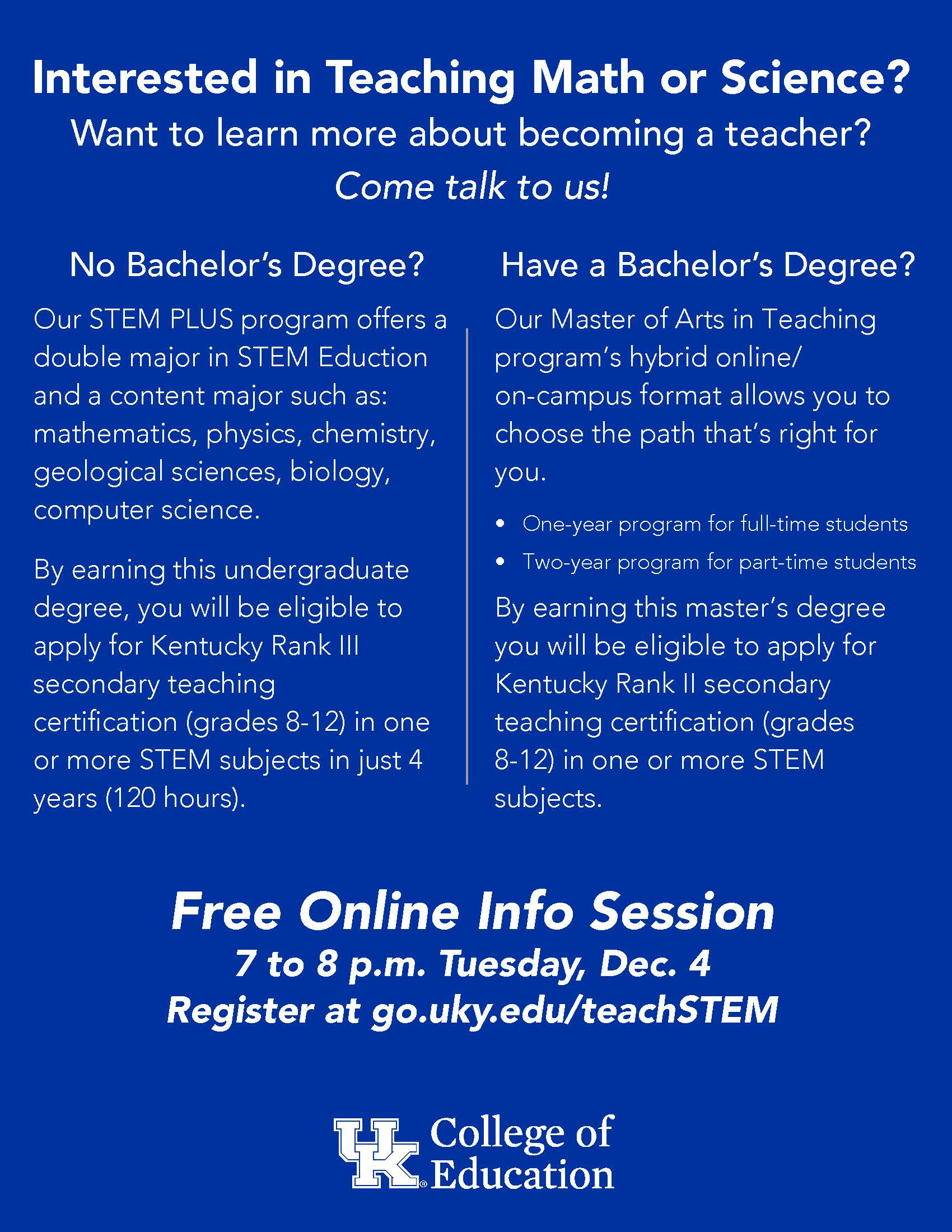 Interested In Teaching Math Or Science Uk College Of Education