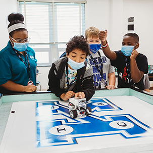 students test creations at STEM Camp